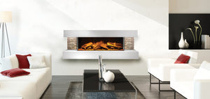 Compton 2: White Stone Electric Fireplace Suite by European Home