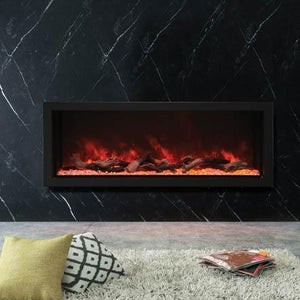 Amantii 60-Inch Wide – Deep Indoor or Outdoor Built-in Electric Fireplace in Black | Very Good Fireplaces