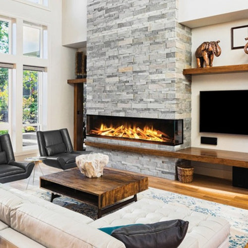Gorgeous brick wall fireplace in living room | European Home E72 Electric Fireplace | Very Good Fireplaces
