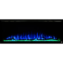 Load image into Gallery viewer,  Black Touchstone Sideline Elite Recessed Electric Fireplace in combination of blue, purple flame with green crystals.