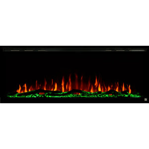 Black Touchstone Sideline Elite Recessed Electric Fireplace in combination of orange, yellow flame with green crystals.