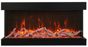 "Amantii 40"" Tru View 3-Sided Glass 14'' Depth Electric Fireplace"