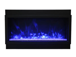 Amantii BI-50-DEEP-XT Electric Fireplace with Clear and Blue Diamond and Blue Flame | Very Good Fireplaces