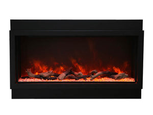 Amantii BI-50-DEEP-XT with Log Set and Yellow Orange Flame Electric Fireplace | Very Good Fireplaces