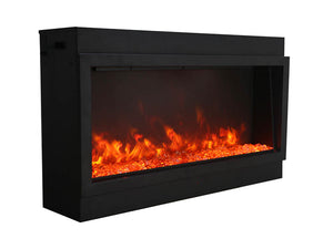 Amantii BI-50-DEEP-XT Electric Fireplace with Clear Diamond and Yellow Orange Flame | Very Good Fireplaces