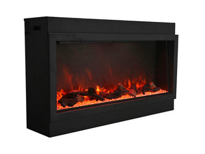 Amantii BI-50-DEEP-XT Electric Fireplace with Log Set, Clear Diamond and Yellow Orange Flame | Very Good Fireplaces
