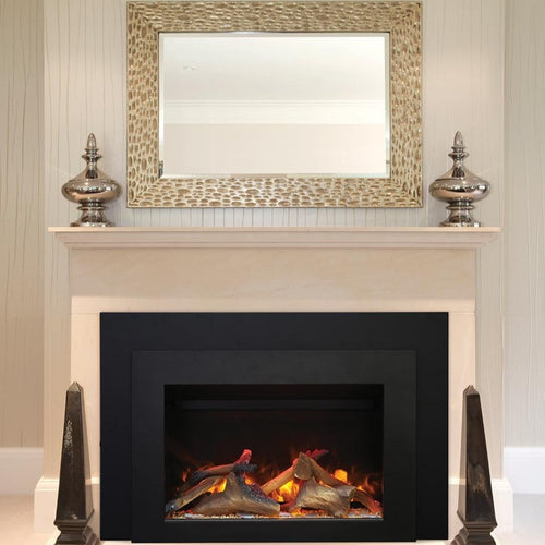 Sierra Flame 34-Inch Electric Insert Series with Black Steel Surround | Very Good Fireplaces