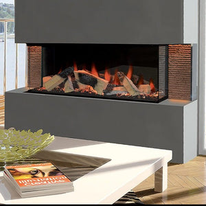 "European Home Kiruna 40"" HALO Multi Sided Electric Fireplace, Built-in Electric Fireplace 