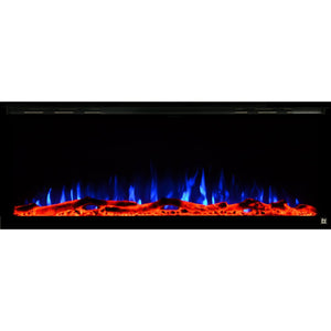 Black Touchstone Sideline Elite Recessed Electric Fireplace in combination of blue, purple flame with orange crystals.
