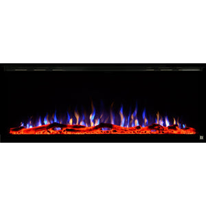 Black Touchstone Sideline Elite Recessed Electric Fireplace in combination of blue,yellow, purple flame with orange crystals.