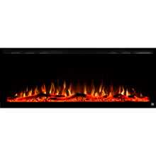 Load image into Gallery viewer, Black Touchstone Sideline Elite Recessed Electric Fireplace in combination of yellow, orange flame with orange crystals.