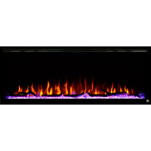 Black Touchstone Sideline Elite Recessed Electric Fireplace in combination of blue, red, yellow, purple flame with pink crystals.