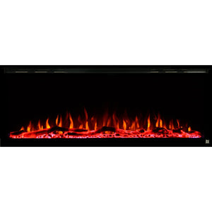 Black Touchstone Sideline Elite Recessed Electric Fireplace in combination of orange, red, yellow flame with red crystals.