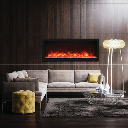 Remii 55″ Extra Tall Indoor or Outdoor Built-in only Electric Fireplace with Black Steel Surround