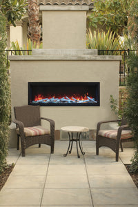 Remii 65″ Extra Tall Indoor or Outdoor Built-in only Electric Fireplace with Black Steel Surround