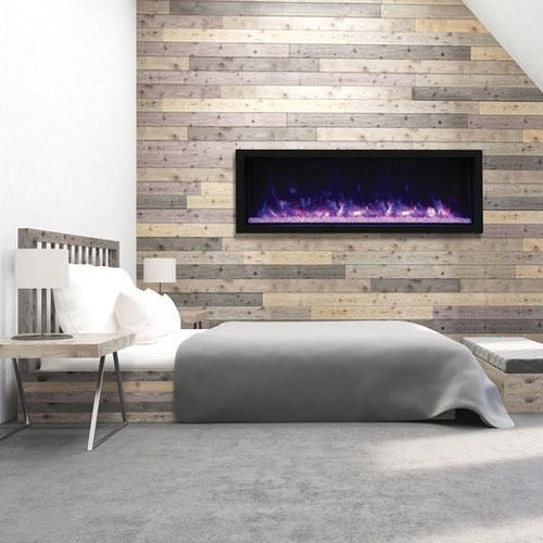 Remii 65″ Extra Tall Indoor or Outdoor Built-in only Electric Fireplace with Black Steel Surround - Bedroom Setting