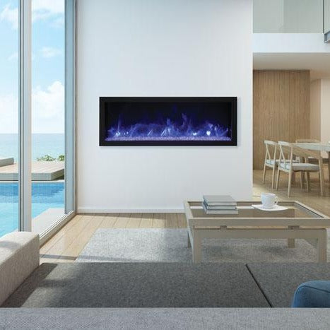 Beautiful corner electric fireplace in the living room that has beautiful view outside | Remii 45