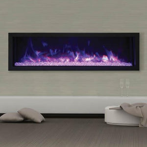 "Cozy living room with Remii 55"" Extra Slim Indoor or Outdoor Built-In only Electric Fireplace with Black Steel Surround  