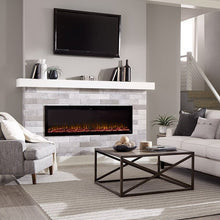 "Load image into Gallery viewer, Beautiful living room with Sideline Elite 72"" Recessed Electric Fireplace with green flame– Very Good Fireplaces."