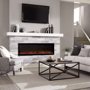 "Beautiful living room with Sideline Elite 72"" Recessed Electric Fireplace with green flame– Very Good Fireplaces."