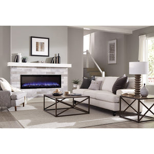 "Beautiful living room with Sideline Elite 72"" Recessed Electric Fireplace with purple flame– Very Good Fireplaces."