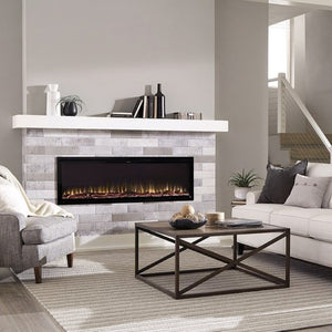"Beautiful living room with Sideline Elite 60"" Recessed Electric Fireplace with green flame– Very Good Fireplaces."