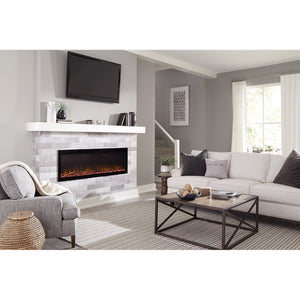 "Cozy living room with Sideline Elite 72"" Recessed Electric Fireplace with green flame– Very Good Fireplaces."