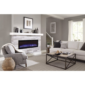 "Beautiful living room with Sideline Elite 60"" Recessed Electric Fireplace with purple flame– Very Good Fireplaces."