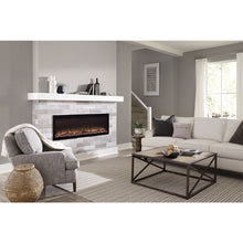 "Load image into Gallery viewer, Cozy living room with Sideline Elite 60"" Recessed Electric Fireplace with green flame– Very Good Fireplaces."