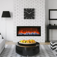 Load image into Gallery viewer, Amantii 88-Inch Extra Tall Clean Face Built-in Electric Fireplace in Black and White Interior Living Room.