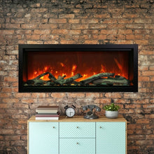 Load image into Gallery viewer, Amantii 100-Inch Extra Tall Clean Face Built-in Electric Fireplace on a Brick Fireplace Wall | Very Good Fireplaces