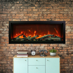 Amantii 100-Inch Extra Tall Clean Face Built-in Electric Fireplace on a Brick Fireplace Wall | Very Good Fireplaces