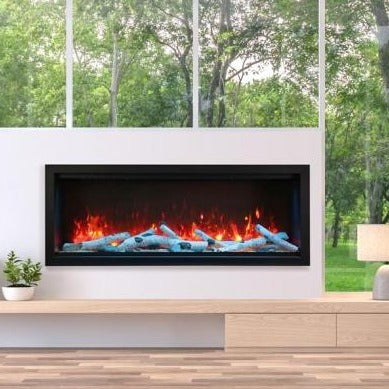 Amantii Symmetry 60-Inch Extra Tall Clean Face Built-in Electric Fireplace with Black Steel Surround | Very Good Fireplaces