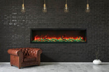 "Load image into Gallery viewer, Amantii 100"" Extra Tall Clean Face Built-in Electric Fireplace"