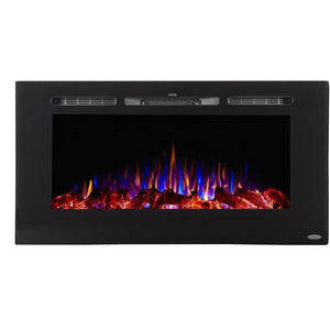 "Indoor Fireplaces - Touchstone Sideline 40"" Black Recessed Mounted Electric Fireplace 
