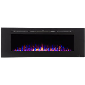 "Touchstone Sideline 60"" Recessed Mounted Black Frame Electric Fireplace 80011"
