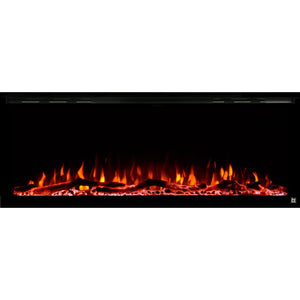 Black Touchstone Sideline Elite Recessed Electric Fireplace in combination of orange, red, yellow flame with orange crystals.