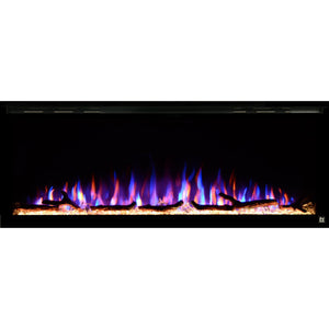 Black Touchstone Sideline Elite Recessed Electric Fireplace in combination of purple, blue, yellow flame with yellow crystals.