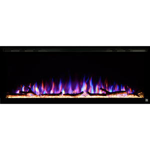 Black Touchstone Sideline Elite Recessed Electric Fireplace in combination of red, orange, purple flame. with golden crystals