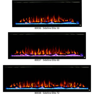 "Touchstone Sideline Elite Recessed Electric Fireplace available in 50"", 60"", and 72""."