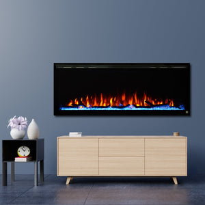 "Best Wall Mount Electric Fireplace in Living Room | Touchstone Sideline Elite 50"" Recessed Electric Fireplace"