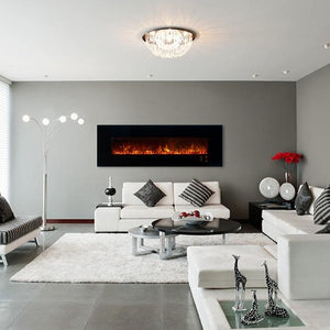 "Beautiful living room with Modern Flames 80"" Ambience CLX2 Wall Mount or Recessed Electric Fireplace 
