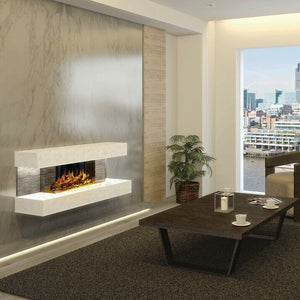 A private home with Compton 2: White Stone Electric Fireplace Suite by European Home | Very Good Fireplaces