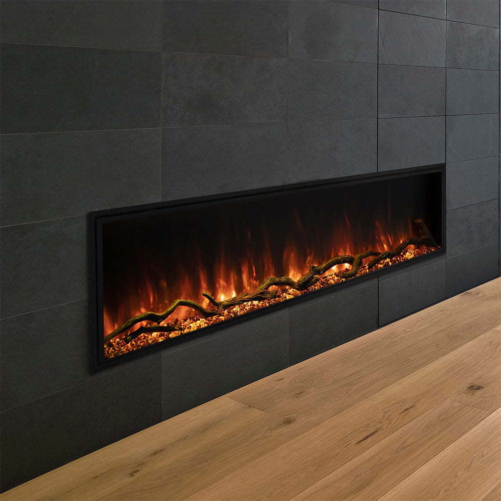 Modern Flames 56-Inch Landscape Pro Slim Built-In Linera Electric Fireplace, Fully Recessed Fireplace