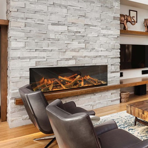 European Home E60 Electric Fireplace on a brick wall fireplace  | Very Good Fireplaces