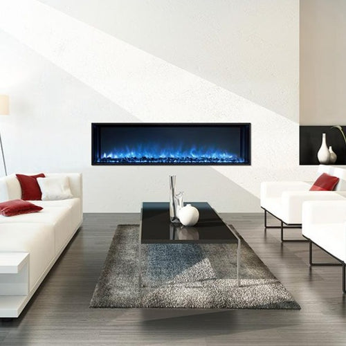 Built-In Electric Fireplace In A Living Room Interior With White Walls | Modern Flames 60