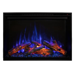 "Modern Flames Redstone Fireplace - 26"" Built-In Electric Fireplace - blue flame red ember close up - Very Good Fireplaces"