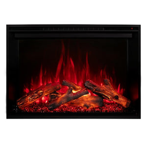 "Modern Flames Redstone Fireplace - 26"" Built-In Electric Fireplace - red flame red ember option - Very Good Fireplaces"