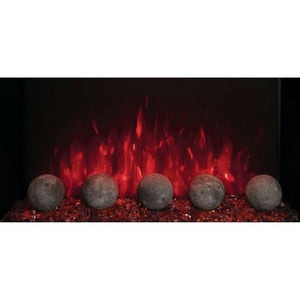 "Modern Flames Redstone Fireplace - 26"" Built-In Electric Fireplace - close up of Cannon balls with red flame  - Very Good Fireplaces"