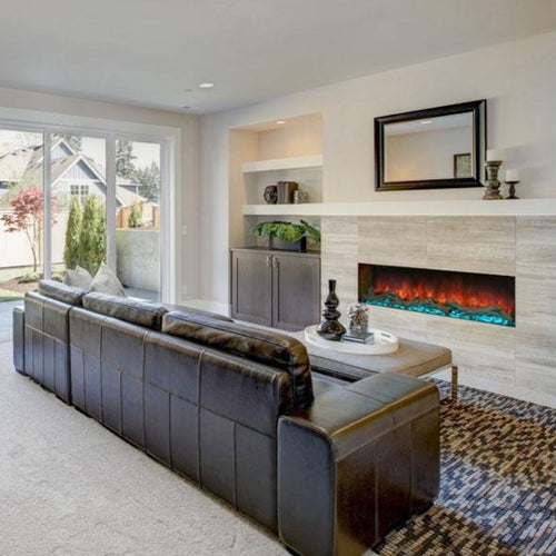 Living Room with Single Sided Electric Fireplace | Modern Flames 56